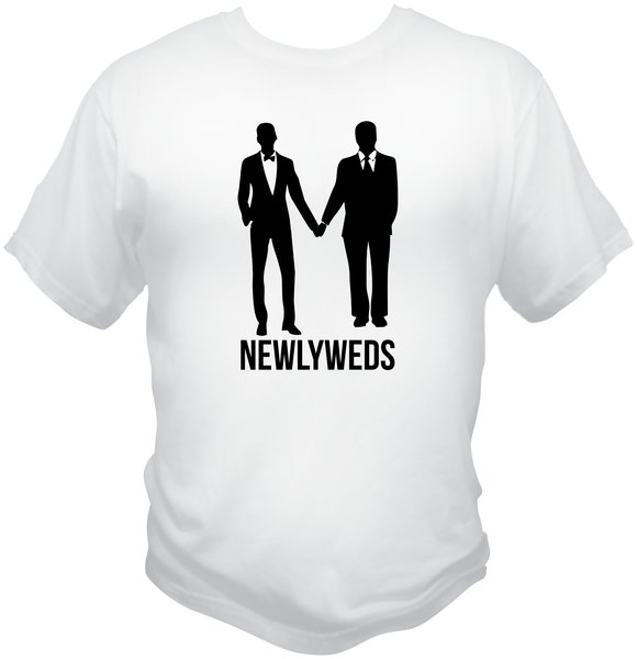 Gay Newlyweds T-Shirt is the perfect shirt for recently married gay men. The unique design is printed on a white Hanes t-shirt which is 6.1 oz. 100% ring-spun cotton.