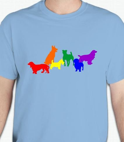 This gay pride dog t-shirt is perfect for dog lovers. The unique design is printed on a 5.3 oz Gildan 100% preshrunk cotton t-shirt. Sizes S-2X.