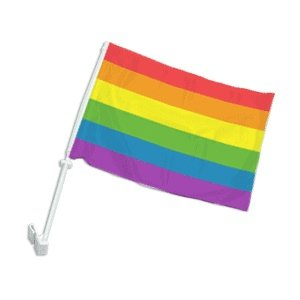"Show your pride with this Gay Pride Rainbow Car Flag The 12"" X 15"" Double Layered Car Window Flag"
