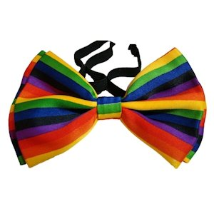 This Gay Pride Rainbow Bow Tie comes with two versions of rainbow stripe. The more formal of the two has straight, horizontal rainbow and a black accent stripe. The other version is more playful with diagonal rainbow stripes