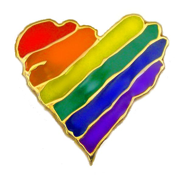 Rainbow Heart Lapel Pin. Beautiful enamel rainbow adorns a gold tone heart.