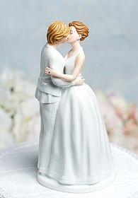 "This lesbian wedding cake topper reveals true emotion as this newly wed couple lovingly embrace each other. Hand painted with attention to every detail, including small Swarovski crystal wedding bands and hair accents. This exquisite wedding cake topper is sure to become a wonderful keepsake commemorating your union. Made of fine porcelain. Cake topper stands 5 1/2 "" tall and base diameter is 2 3/4 ""."