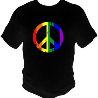 These gay pride Peace sign shirts are perfect for any wanting to make a statement. The unique design is printed on a Gildan 100% preshrunk cotton t-shirt. Available in a black t-shirt, a men's navy tank or a lady's navy tank.