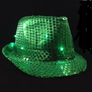 Green Sequin Fedora Hat with 10 Blinking Green LEDs. Lights blink in 3 different patterns. Be the coolest person at your event with this awesome blinking sequin hat. One size fits most - up to 22 inches. Discounts for purchases of 10 or more. Email us for pricing.