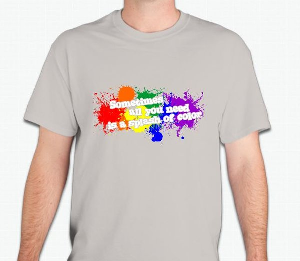 Sometimes all you need is a splash of color t-shirt to show your pride with a whimsical touch. The unique design is printed on a Gildan 100% preshrunk cotton t-shirt. Available in light blue, tan and pink.