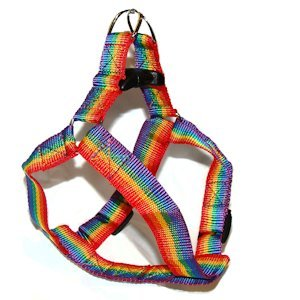 Gay Pride Pet Harness is adjustable. Harness will fit most cats and dogs, for a secure yet stylish rainbow statement for your pet.