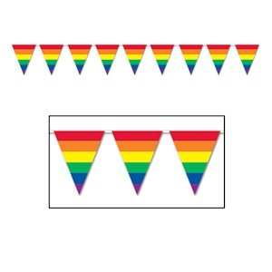 Rainbow Flag Banner is 12 foot long and consists of 12 rainbow triangle flags. Perfect to adorn an event booth or to decorate for your next party.
