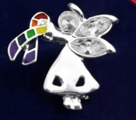 "Angel By My Side Rainbow Pin is an angel holding a rainbow ribbon pin, sterling silver plated with 3 clear crystals as the face and wings. The pin is approximately 1"" X 1"" and comes in a gift box with a cotton insert."