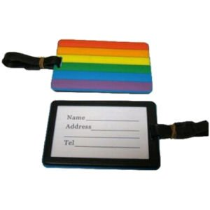 "Gay Pride Luggage Tag is made of pliable plastics. Sized at a convenient 4 "" X 3 "" It allows you to easily identify your luggage or backpack."