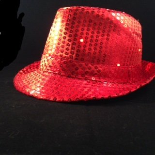 Red Sequin Fedora Hat with 10 Blinking Red LEDs. Lights blink in 3 different patterns. Be the coolest person at your event with this awesome blinking sequin hat. One size fits most - up to 22 inches. Discounts for purchases of 10 or more. Email us for pricing.