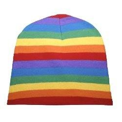 Gay Pride Rainbow Beanie Cap is 100 % Acrylic. It's washable and one size fits most adults.