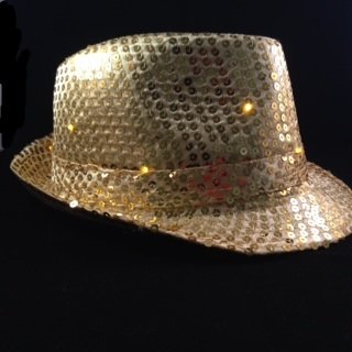 Gold Sequin Fedora Hat with 10 Blinking Gold LEDs. Lights blink in 3 different patterns. Be the coolest person at your event with this awesome blinking sequin hat. One size fits most - up to 22 inches. Discounts for purchases of 10 or more. Email us for pricing.