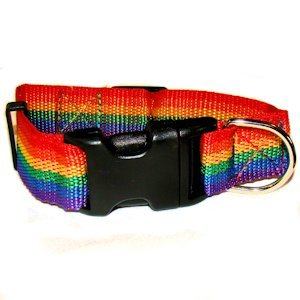 Rainbow Pet Collar - Available in 2 sizes and is adjustable so it fits most breeds. Collar is one inch wide. Made of soft, durable nylon. For any stylish pet that wants to display their PRIDE.
