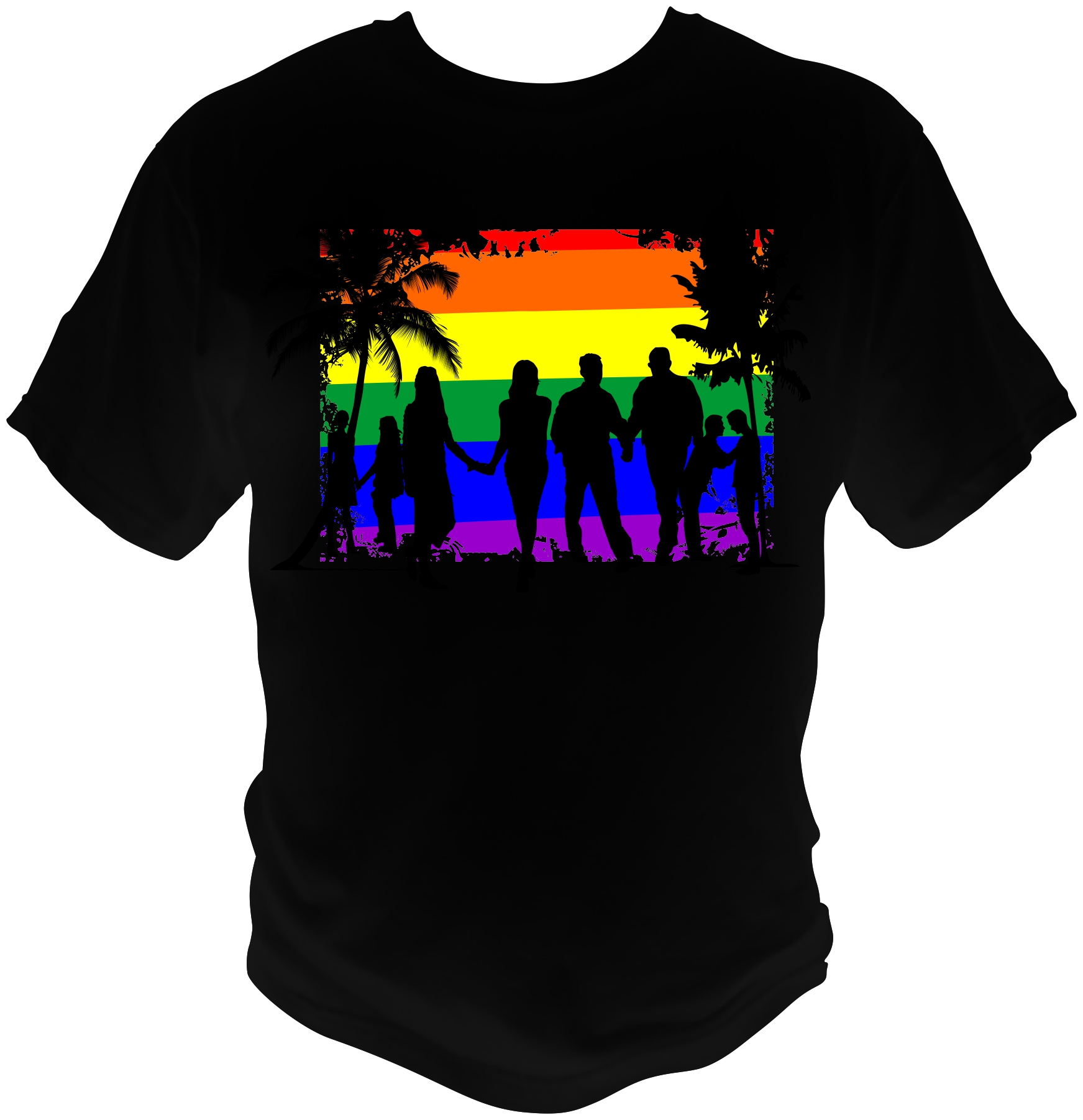 Beach Theme Shirts are Black 100% cotton T-Shirt with rainbow beach scene and gay couples in silhouette
