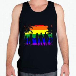 Beach Theme Tank is black 100% cotton tank top with bright rainbow beach scene with gay couples in silhouette