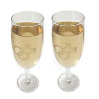 Looking for perfect gay wedding accessories? This is a boxed set of 2 Glass Champagne Flutes with gay men's or lesbian's symbols