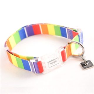Adjustable Pet Collar with a Cool Rainbow Graphic Design. Made of soft, reinforced polyester.