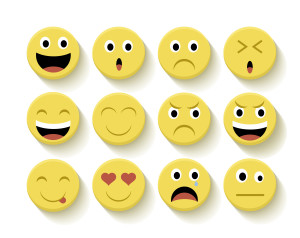Set of Emoticons flat illustration with isolated background. Ideal for web, chat and app design. EPS10 vector file.
