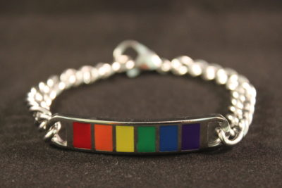 Rainbow Bar Bracelet is a Heavy Silver Chain Bracelet with Rainbow Enamel Bar. Bold, Stylish and Contemporary.