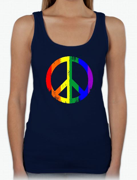 This gay pride Peace sign tank is perfect for any wanting to make a statement. The unique rainbow design is printed on a Gildan 100% preshrunk cotton shirt. Available in a men's or lady's navy tank.