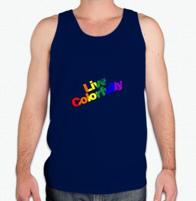Live Colorfully tank is a whimsical gay pride tank - perfect for any wanting to make a statement. The unique rainbow lettered design is printed on a Gildan 100% preshrunk cotton tank top. Available in a men's or lady's navy tank.