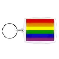 Rainbow Key Ring. This is a 3 1/2 Inch Acrylic Keychain featuring the Gay Pride Rainbow Flag. Made in the USA with Love and Pride!