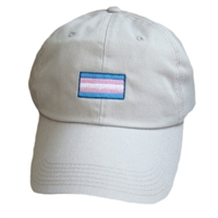 This transgender flag ball cap is 100% cotton brushed twill with embloidered emblem.