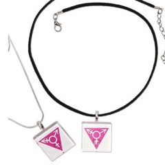 Transgender Symbol Pendant Necklaces have a white glass pendant with pink transgender symbol on choice of silver plated snake chain or black suede rope
