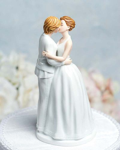 This lesbian wedding cake topper reveals the true wedding couple as you select each figurine's hair color to accurately reflect the newly wed couple as they lovingly embrace each other. Hand painted with attention to every detail, including small Swarovski crystal wedding bands