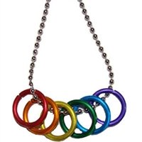 Gay Pride Freedom Rings Necklace with 18 Inch Silver Ball Chain.