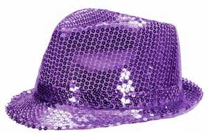 Purple Sequin Fedora Hat with 10 Blinking Purple LEDs. Lights blink in 3 different patterns. Be the coolest person at your event with this awesome blinking sequin hat. One size fits most - up to 22 inches