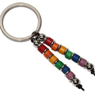 Rainbow ceramic bead keyring has two strands of rainbow hued beads interspersed with silver beads dangling from a silver toned key ring