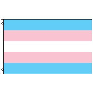 Transgender Flag. Show your pride in who you are and who you are becoming. This is a 3 x 5 Foot Polyester Flag with the Blue, Pink and White Rainbow of the transgender community. The seams are double stitched for durability. The hang band is reinforced and contains 2 brass grommets for hanging.